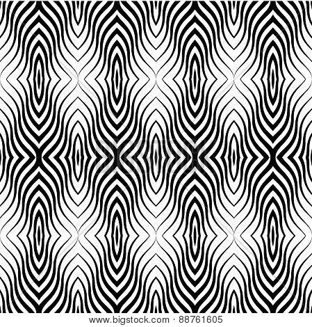 Op Art  Black White Vector Seamless Geometric Pattern. Lines Onl
