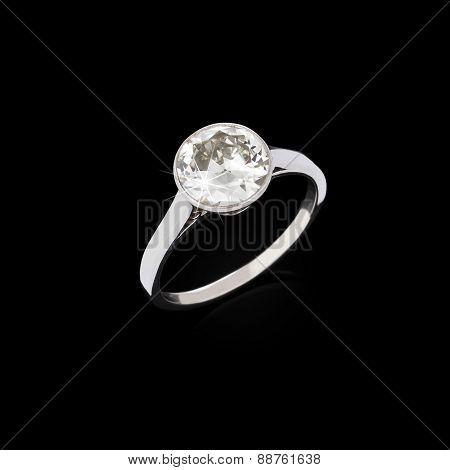 Engagement Diamond Ring On Black Background