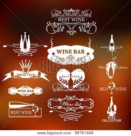 Set of vintage style elements for labels and badges for wine, vineyard, wine club and restaurant