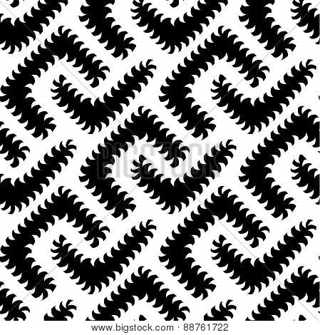 Abstract Vector Black White Seamless Pattern With Worms. Some Mo