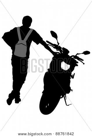 People and sport bike on white background
