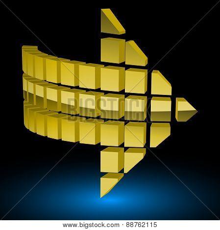 Halftone Glossy Golden Arrow. Vector Illustration.