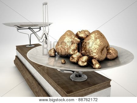 Scale And Gold Nuggets