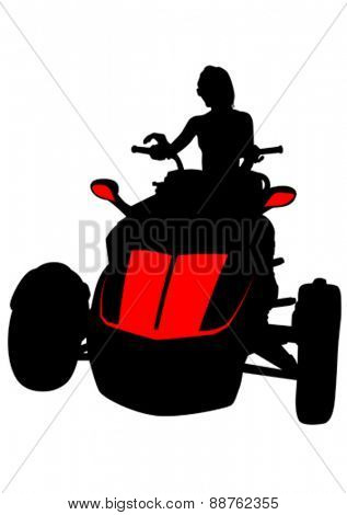 Silhouettes woman on quad on white background