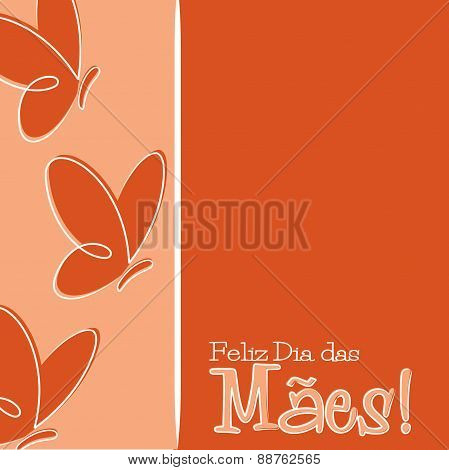 Hand Drawn Portuguese Happy Mother's Day Card In Vector Format.