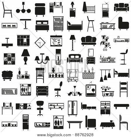 Furniture Black Icons On White