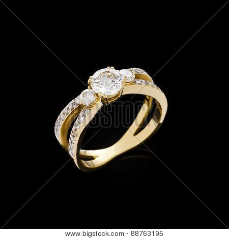 Diamond Ring On Black Background