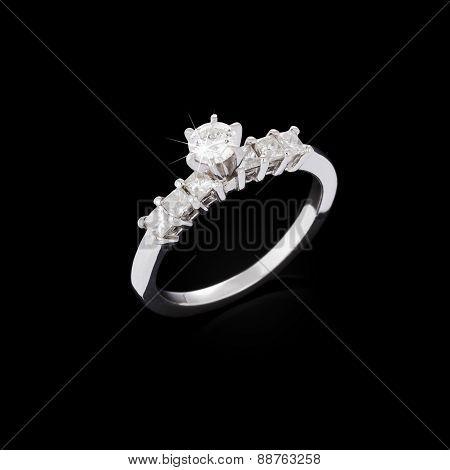 Diamond Ring On Black Background