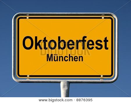 Street sign Oktoberfest in Munich, Germany