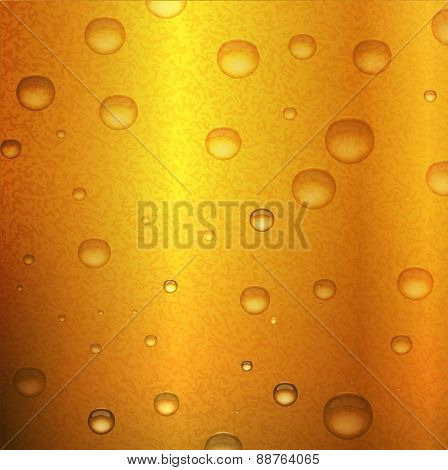 Beer background with water drops condensation. Vector illustration.