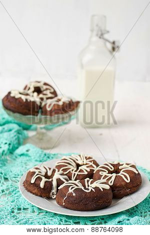 Chocolate Donuts With White Icing