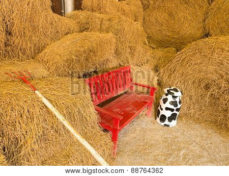 Red Wooden Seat In Farmhouse