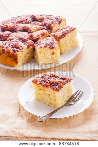 Yeast Cake Witch Raspberies Jam