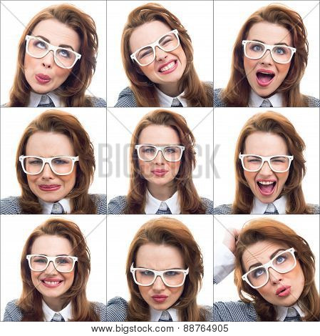 Composition Or Collage Of Different Lot Expressions Of The Same Young Woman - Girl
