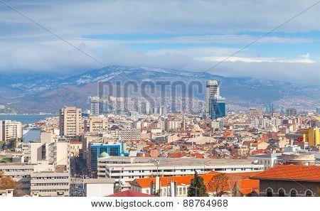 Panorama Of Izmir City, Turkey. Modern Buildings
