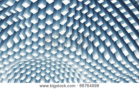 Curved Ceiling Surface Formed By White Columns Array, 3D