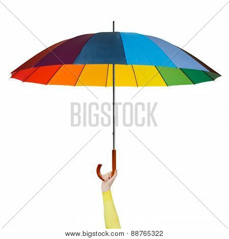 Hand with colorful umbrella