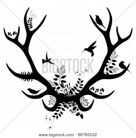 Spring deer silhouette. vector illustration isolated on white