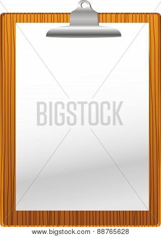Clip board with paper blank