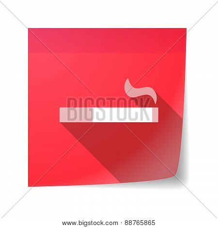 Sticky Note Icon With A Cigarette