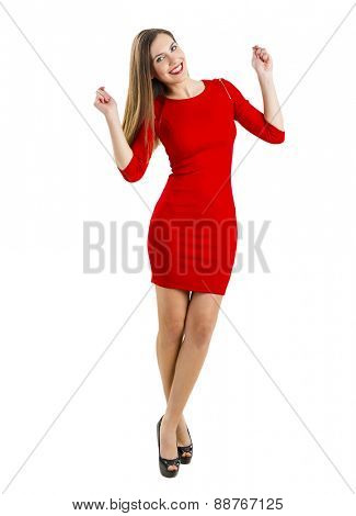 Beautiful and attractive woman with a sexy dress, isolated on white background
