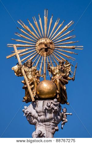 austria, linz, main square, trinity column. holy dreiofaltigkeit the catholic church