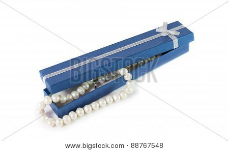 Pearl Bijouterie Necklace And  Blue Gift Box Isolated On White Background