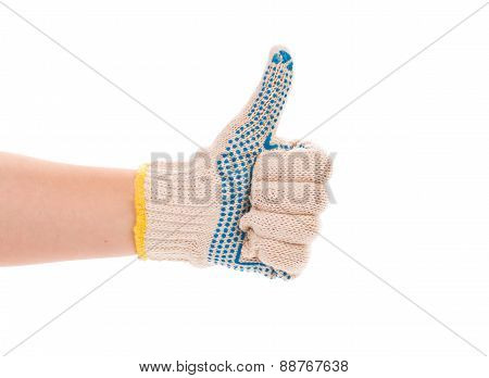 Rubber protective white glove.