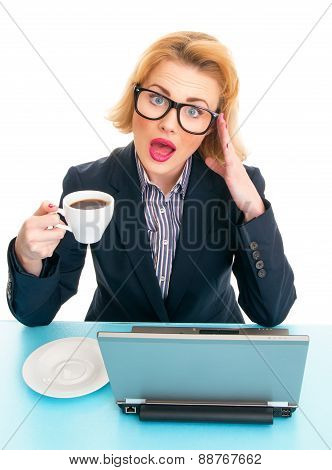Business Woman Holding Coffee Cup, Pause On Work. Isolated On White