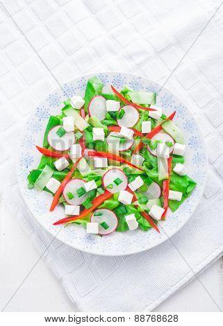 Salad With Feta Cheese And Radish. Vegetable Salad