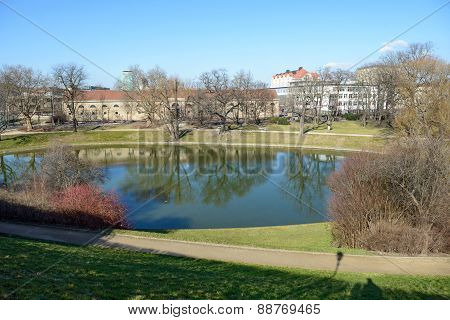Park Of Zwinger Pond In Dresden, Saxony, Germany.