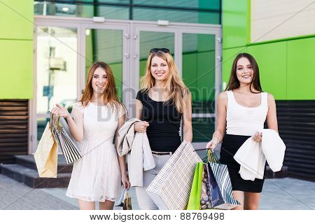 Young women after shopping