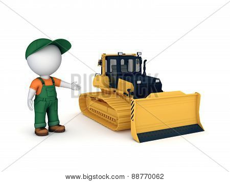 Yellow bulldozer.