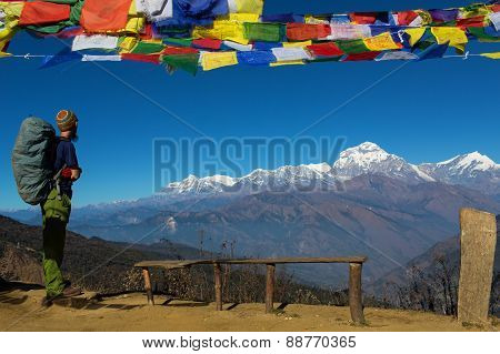 Traveler Admiring Annapurna South Peak In Himalaya Mountain, Nepal