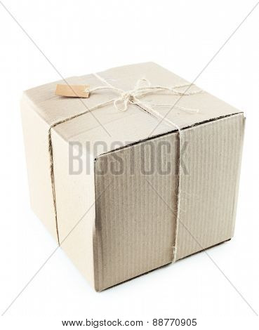 Mail package parcel isolated on white