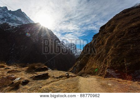 Machhapuchhare Base Camp In Himalaya Mountains, Near To Annapurna Base Camp