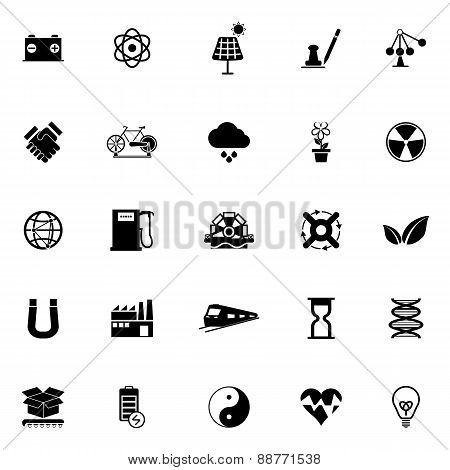 Renewable Energy Icons On White Background
