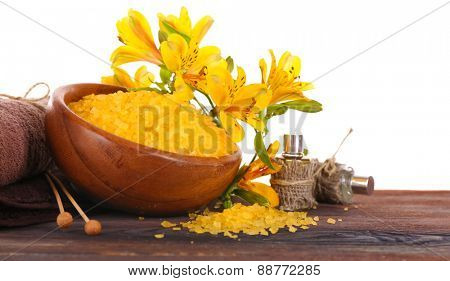 Spa still life with flower on wooden table isolated on white