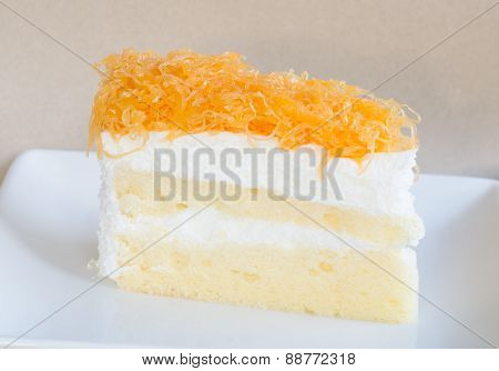 Thai Dessert, Foythong Cake Or Gold Egg Yolks Thread