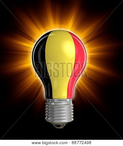 Light bulb with Belgian flag (clipping path included)