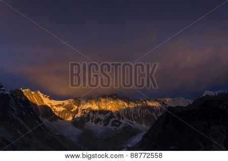 View Of Annapurna I From Annapurna Base Camp Himalaya Mountains In Nepal At Sunrise
