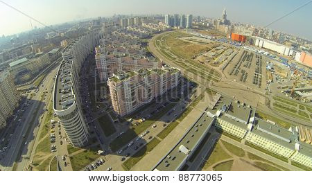 MOSCOW, RUSSIA - APRIL 20, 2014: Cityscape with Hodynskoe Field, aerial view. Field got its name from the eponymous river, which is now enclosed in a pipe
