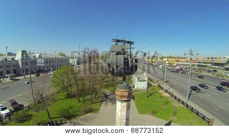MOSCOW, RUSSIA - APRIL 26, 2014: Monument of tallship on Rizhskaya square and Rizhsky Railway Station, aerial view