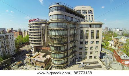 MOSCOW, RUSSIA - APRIL 27, 2014: Business center Borodino Plaza at sunny day, aerial view. The complex includes a hotel and garage complex with a four-star hotel and a concert hall Borodino Hall