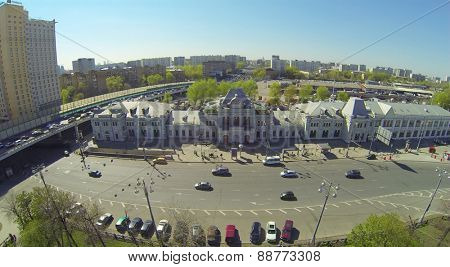 MOSCOW, RUSSIA - APRIL 26, 2014: City landscape with the building of the Rizhsky Railway Station, aerial view. The station building was constructed in 1897-1901 years