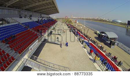 MOSCOW, RUSSIA - APRIL 19, 2014: Tribunes with the audience on the Grebnoy canal during the Rally Masters Show, aerial view