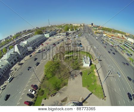 MOSCOW, RUSSIA - APRIL 26, 2014: Rizhskaya square with Rizhsky Railway Station and Prospekt Mira, aerial view
