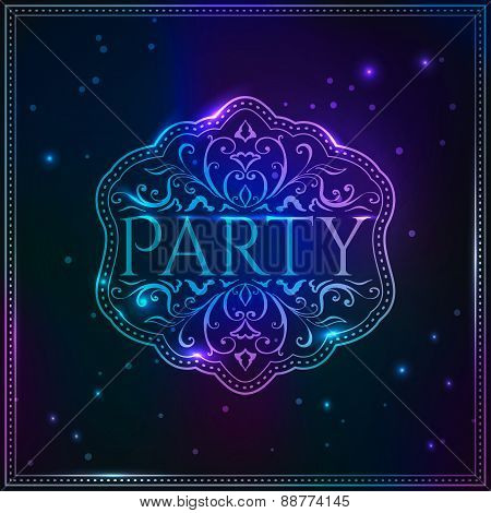 Golden luxury magic Party design template with elegant pattern.