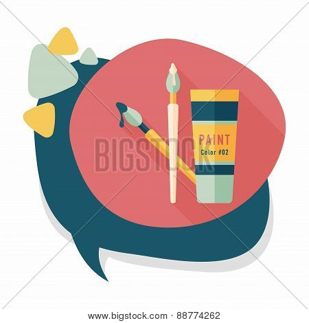 Brush And Color Tube Flat Icon With Long Shadow, eps10