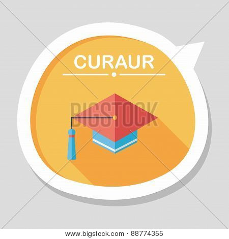 Education Cap Flat Icon With Long Shadow, eps10